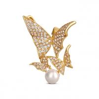 Paauksuota sagė su tikru perlu 2in1 - drugeliai JwL Luxury Pearls JL0630 Brooch hanger