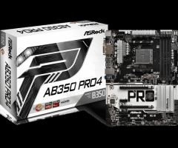 Pagrindinė plokštė ASRock AB350 Pro4, AM4, DDR4 2667, 6 SATA3, 8 USB 3.0, HDMI, DVI-D, D-Sub
