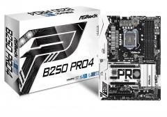 Pagrindinė plokštė ASRock B250 Pro4, INTEL B250 Series,LGA1151,4 DDR4, 2xM.2 (1 for SSD, 1 WiFi)