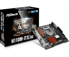 Pagrindinė plokštė ASRock H110M-ITX/AC, H110, DualDDR4-2133, SATA3, M.2, HDMI, DVI, mITX