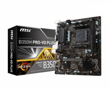 Pagrindinė plokštė MSI B350M PRO-VD PLUS, AM4, DDR4, 4 x SATA 6Gb/s , 6 USB 3.1, DVI/VGA