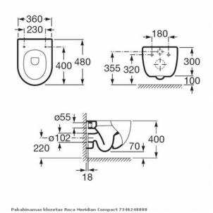 Hanging toilet Roca Meridian Compact
