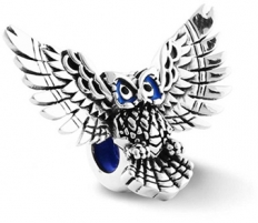 Pakabukas Infinity Love Silver bead brake with owl HE-882-D