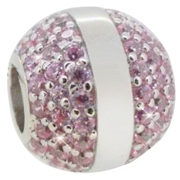 Pakabukas Infinity Love Silver bead with purple crystals HSZ-836-PS
