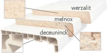 Palodžu MELNOX pārslās, 19x450x4100 mm, balts krāsa, zāģēta Kokskaidu plātnes palodzes