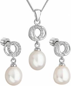 Papuošalų komplektas Evolution Group Beautiful pearl set with zircons 29003.1 white Papuošalų komplektai