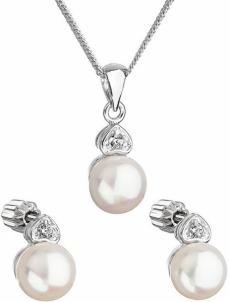 Papuošalų komplektas Evolution Group Pearl set with zircons 29001.1 white Papuošalų komplektai