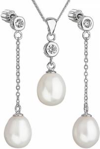 Papuošalų komplektas Evolution Group Silver pearl set with zircons 29005.1 AAA white Papuošalų komplektai