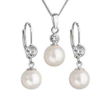 Papuošalų komplektas Evolution Group Women´s pearl set with crystals 29007.1 AA white Papuošalų komplektai