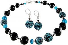 Papuošalų komplektas Lampglas Elegant set of jewelry Turquoise Icon made of Lampglas pearls with pure silver CQ3 (necklace, earrings) Papuošalų komplektai
