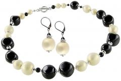 Papuošalų komplektas Lampglas Elegant set of jewelry Ultima te Beauty from pearls Lampglas CQ1 (necklace, earrings) Papuošalų komplektai