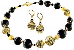Papuošalų komplektas Lampglas Luxury set of Gold en Tiger jewelry made of Lampglas pearls with 24 carat gold CQ5 (necklace, earrings) Papuošalų komplektai