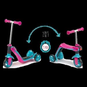 Paspirtukas Smoby Reversible 2in1 Scooter pink Paspirtukai, balansiniai dviračiai