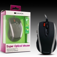 Pelė  Input Devices - Mouse Box CANYON CNR-MSD06N (Cable, Optical 800/1600dpi,7 btn,USB), Black/Silver
