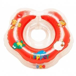 Plaukimo ratas kūdikiams ant kaklo Flipper raudonas Vandens atrakcionai