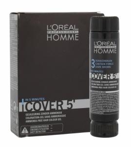 Plaukų dažai L´Oreal Paris Homme Cover 5 Hair Color Cosmetic 3x50ml (Dark brown) Plaukų dažai