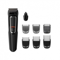 Plaukų kirpimo mašinėlė Philips stubble combs (1,2 mm) , 1 adjustable beard comb (3-7 mm) and 3 hair combs (9,12,16 mm)., 8-in-1 trimmer Multigroom series 3000, Cordless