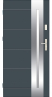 Plieninės įėjimo durys WIKED26 80 kairios RFstakta Antracito spalva su TERMO stakta Metalinės durys