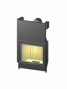 Plieninis židinio ugniakuras Varia S62,3h-4S, tiesiu stiklu ir tonuotais stiklo kraštais