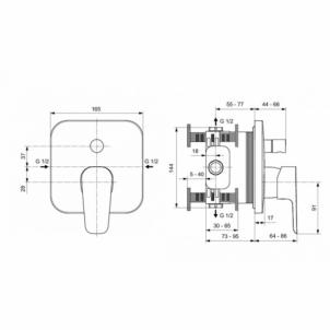 Potinkinis dušo ir vonios maišytuvas maišytuvas Ideal Standard Potinkinės sistemos