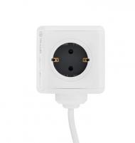 Prailgintojas Tellur Power Cube Extended, Power strip 4 Outlets + 2xUSB ports, 1.5m cable white Išmanūs valdikliai, jungikliai