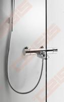 Priekinė pažeminta stiklo dalis dušo bokso IDO Showerama 8-5 90x90, skaidri su matinio aliuminio profiliu