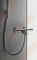 Priekinė stiklo dalis dušo bokso IDO Showerama 8-5 100x100, tamsinta su matiniu aliumio profiliu