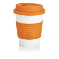 Puodelis kavai pagamintas iš perdirbtų medžiagų, oranžinis