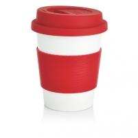 Puodelis kavai pagamintas iš perdirbtų medžiagų, raudonas