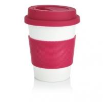 Puodelis kavai pagamintas iš perdirbtų medžiagų, rožinis