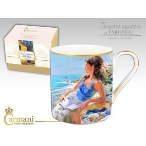 Puodelis mergina terasoje su knyga (7754) Kafija un tēja