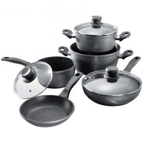 Puodų rinkinys Stoneline 1 sauce pan, 1 stewing pan, 1 frying pan, die-cast aluminium, black,