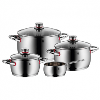 Puodų rinkinys WMF Cookware set, 4 pieces QUALITY ONE Cromargan® 18/10 stainless steel, Stainless steel, Dishwasher proof, Lid included Puodų rinkiniai