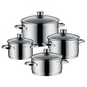 Puodų rinkinys WMF Sapphire 4-Piece Saucepan Set 4, 2,5; 1,9; 3,3; 5,7 L, Cromargan 18/10 stainless steel, Stainless steel, Dishwasher proof, Lid included Iestata podi