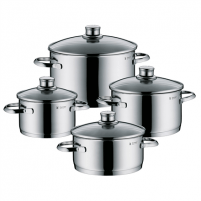 Puodų rinkinys WMF Sapphire 4-Piece Saucepan Set 4, 2,5; 1,9; 3,3; 5,7 L, Cromargan 18/10 stainless steel, Stainless steel, Dishwasher proof, Lid included