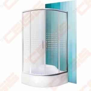 Pusapvalė dušo kabina ROLTECHNIK BUFFALO NEO/800 (aukštis 1650 mm) su dviejų elementų slankiojančiomis durimis, brillant spalvos profiliu ir piešiniu ant stiklo