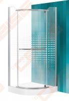 Semicircural shower SANIPRO AUSTIN 90x90 su sidabro spalvos profiliu ir dekoruotu stiklu