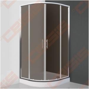 Semicircural shower SANIPRO COFE 90x90 su dviejų elementų slankiojančiomis durimis bei brilliant spalvos profiliu ir tamsintu stiklu