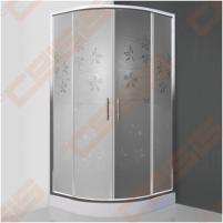 Pusapvalė dušo kabina SANIPRO FLOWER NEO 800 su dviejų elementų slankiojančiomis durimis bei brilliant spalvos profiliu ir dekoruotu stiklu