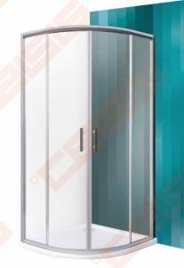 Semicircural shower SANIPRO HGR2/800 su dviejų elementų slankiojančiomis durimis bei brilliant spalvos profiliu ir matiniu stiklu