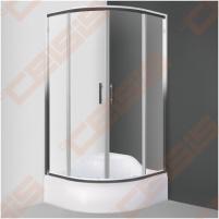 Pusapvalė dušo kabina SANIPRO HGRD2/900 su dviejų elementų slankiojančiomis durimis bei brilliant spalvos profiliu ir skaidriu stiklu