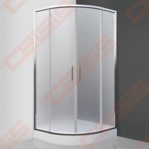 Semicircural shower SANIPRO Houston Neo 80x80 su dviejų elementų slankiojančiomis durimisbei brilliant spalvos profiliu ir matiniu stiklu