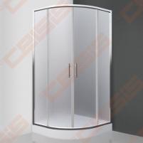 Semicircural shower SANIPRO Houston Neo 90x90 su dviejų elementų slankiojančiomis durimisbei brilliant spalvos profiliu ir matiniu stiklu