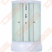 Pusapvalis dušo boksas SANIPRO Deep 90x90 su baltos spalvos profiliu ir matiniu stiklu (4 dalių)