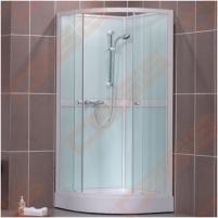 Pusapvalis dušo boksas SANIPRO Simple 80x80 su padėklu ir sifonu, su baltos spalvos profiliu ir clear glass