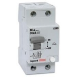 Relė nuotėkio su išjungikliu, 2P, 25A, 30mA+C, 6kA, Legrand 007888 Dc leakage relay