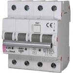 Relė nuotėkio su išjungikliu, 4P, 25A, 30mA+C, 10kA, KZS-4M, ETI 02174026 Dc leakage relay