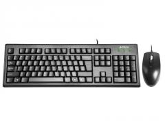 Rinkinys: klaviatūra pelė A4Tech KRS-8372 USB, US Juoda