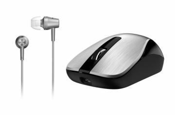 Rinkinys Genius MH-8015 sidabrinė bevielė pėlė + sidabrinės ausinės (su mikr.)