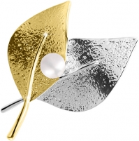 Sagė JwL Luxury Pearls Bicolor brooch leaves 2in1 with right pearl JL0571 Piespraudes pakaramais